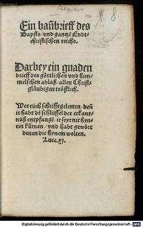 ˜Einœ Bannbrieff des Bapsts : darbey ein gnaden brieff