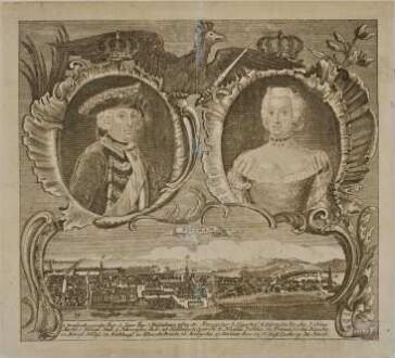 Potsdam vom Brauhausberg mit den Porträts von Friedrich II. und Elisabeth Christine