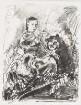 Studie nach Rembrandt. Selbstbildnis des Künstlers mit seiner jungen Frau Saskia auf den Knien.