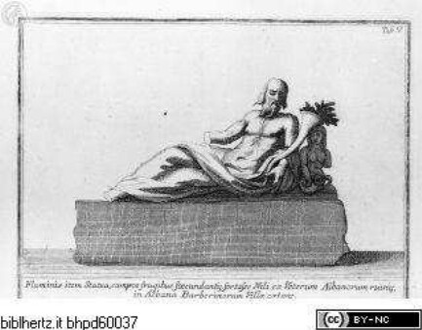Veteris Latii antiquitatum amplissima collectio: ... Volumen secundum. 5 Teile., 4. Teil: Aricinorum, et Albanarum Rudera, Tafel V: Fluminis item Statua