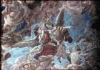 Steinigung des heiligen Stephanus und seine Vision des sich öffnenden Himmels mit Christus und dem Heiligen Geist