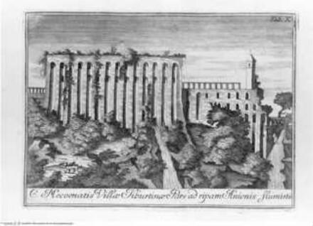 Veteris Latii antiquitatum amplissima collectio: ... Volumen primum. 3 Teile., 1. Teil : Tyburtinorum Rudera, Tafel X: Eiusd. vestigia ad Ripam Anienis (Santuario di Ercole Vincitore)