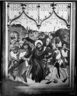 Tiefenbronn  Katholische Kirche Sankt Maria Magdalena  Hochaltar (1469) von Hans Schüchlin Schrein geschlossen - linker Innenflügel Darstellung Kreuztragung