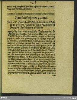 Das funffzehende Capitel. Zum XV. Durch das Bündtnis mit dem Könige in GroßBritannien, ist der Catholischen Religion Versicherung geschehen
