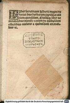 Liber aggregationis seu secretorum de virtutibus herbarum, lapidum et animalium : mit astrologischem Anhang nach dem Liber aggregationis