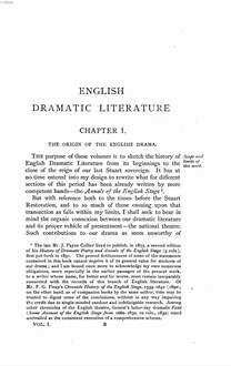 ˜Aœ history of English dramatic literature to the death of Queen Anne. 1