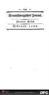Fortsetzung und Beschluß der im ersten Stücke des Journals abgebrochenen Beantwortung der Preisfrage, welche die Akademie der Wissenschaften in Berlin fürs Jahr 1783 aufgegeben hat