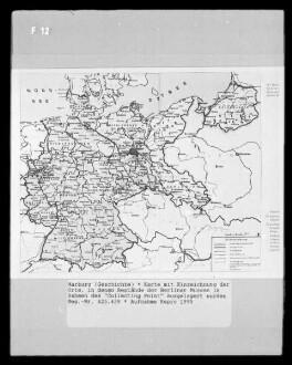 """Karte mit Einzeichnung der Orte, in denen Bestände der Berliner Museen im Rahmen des """"collecting point"""" ausgelagert wurden"""