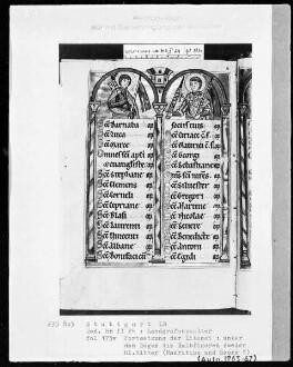 Psalterium (sogenannter Landgrafenpsalter) — Litaneiseite, unter den Bögen zwei heilige Ritter, Folio 173verso