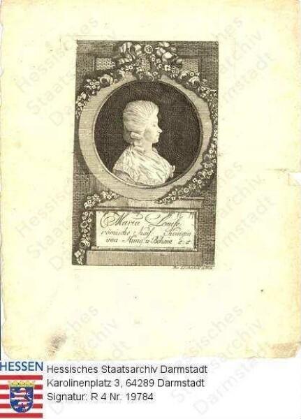Maria Ludovika Kaiserin v. Österreich geb. Prinzessin v. Spanien (1745-1792) / Porträt, im Profil, in blumenbekränztem Medaillon, mit Sockelinschrift