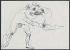 Reineke Fuchs im Kampf. Unveröffentlichte Zeichnung