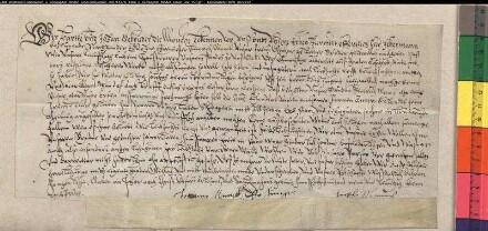 Hartke und Johann Mönch (die Monche) erlauben ihrem Bruder Heinrich Mönch (Monck), seiner Ehefrau Anne Rulandts aus ihren Stamm- und Lehngütern ein Leibzucht auszusetzen