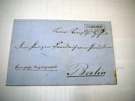 Briefumschlag an Prinz Friedrich von Preußen, abgesendet in Saarlouis