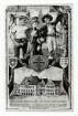 """""""Deutsche Turnerschaft, XI Kreis Schwaben, 38. Landesturnfest in Heilbronn, 31.07 - 02.08.1909"""": Festpostkarte zum 38. Schwäbischen Landesturnfest. Grafik: Rathaus, Marktplatz,              zwei Turner und ein Käthchen"""