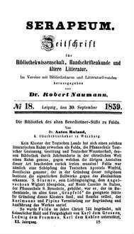 Die Bibliothek des alten Benedictiner-Stifts zu Fulda