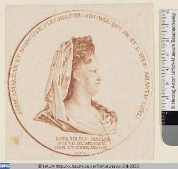 Sophia Amalia, Herzogin von Braunschweig-Lüneburg, Büste auf Gedenkmünze