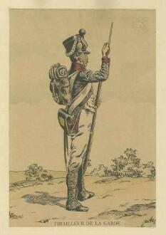 Stab Kaiser Napoleon I.: Schütze der Garde in Uniform, Mütze und Feldausrüstung, Gewehr reinigend, stehend, in Profil