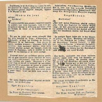 Tagesbefehl von Napoleon in Regensburg an seine Soldaten, veröffentlicht von Major-General Fürst Neuschatel in Ludwigsburg