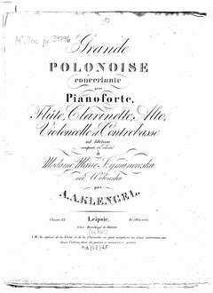 Grande polonoise : pour pianoforte, flûte, clarinette, alto, violoncelle et contrebasse ad lib. ; oeuv. 35