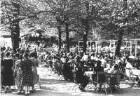 """Niederau-Oberau (Kreis Meißen). Gaststätte """"Buschmühle"""". Biergarten mit Musikpavillon und Tanzboden"""
