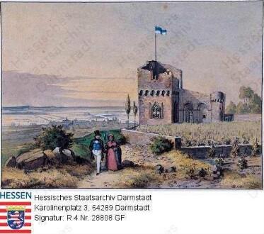 Aschaffenburg, Kippenburg bei Aschaffenburg / im Hintergrund Mainschleife und Silhouette Aschaffenburgs