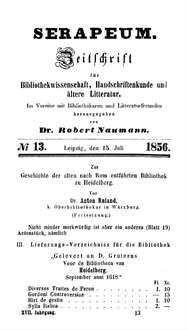 Zur Geschichte der alten nach Rom entführten Bibliothek zu Heidelberg (Fortsetzung)