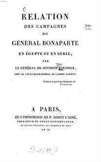 Relation des campagnes du Général Bonaparte en Egypte et en Syrie
