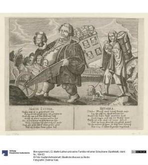 Martin Luther und seine Familie mit einer Schubkarre (Spottblatt)