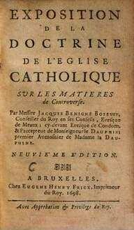 Exposition De La Doctrine De L'Eglise Catholique Sur Les Matières De Controverse