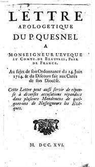Lettre Apologetique du P. discernens Bullam unigenitus