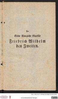 An seine königliche Majestät Friedrich Wilhelm II.
