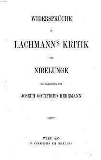 Widersprüche in Lachmann's Kritik der Nibelunge