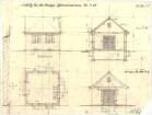 Fischer, Theodor; München; Bayerische Geschützwerke - Gasmesserhaus West - u. Südseite (Grundriss,Ansichten, Schnitt)