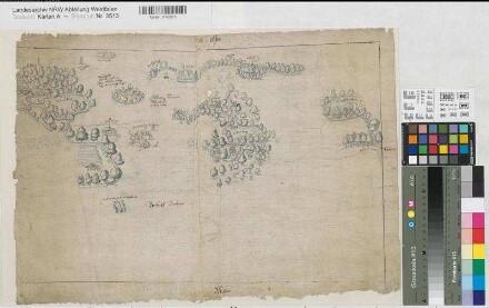 Südlohn (Südlohn) - Oeding (Südlohn) - Winterswijk (Niederlande) - Grenzgebiet - um 1590/95 - o.M. - 34 x 53 - kol. Zeichnung - Bem.: Einzeichnung mit Figuren: Erschießung des Tonnies Willincks - KSM Nr. 1211