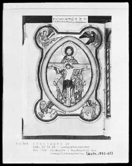 Psalterium (sogenannter Landgrafenpsalter) — Gnadenstuhl mit den Evangelistensymbolen, Folio 172verso
