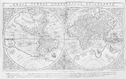 """Orbis terrae compendiosa descriptio"": Weltkarte mit hypothetischem Sückontinent"