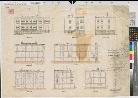 Schwelm (Schwelm) - Erweiterungsbau des Krankenhauses - Ansichten, Schnitte - 1907 - 1 : 100 - 69 x 96 - kol. Zeichnung - Stadtbaumeister - KSA Nr. 1446