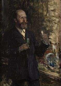 """Portraitstudie Emil Fischer, Chemiker und Nobelpreisträger. Entwurf zu dem verschollenen Gemälde """"Letzte Sitzung der Preußischen Akademie der Wissenschaften im alten Haus"""""""