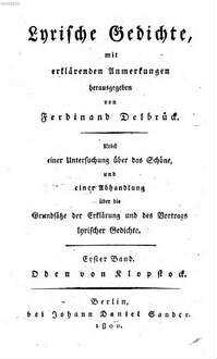 Lyrische Gedichte. 1, Oden von Klopstock