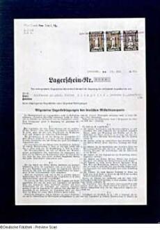 Lagerschein Nr. 3694 vom 24.05.1940 mit Verzeichnis der einzulagernden Gegenstände Victor Klemperers. Vorderseite