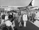 Berlin-Schönefeld. Erich Honecker empfängt Indira Gandhi auf dem Flughafen