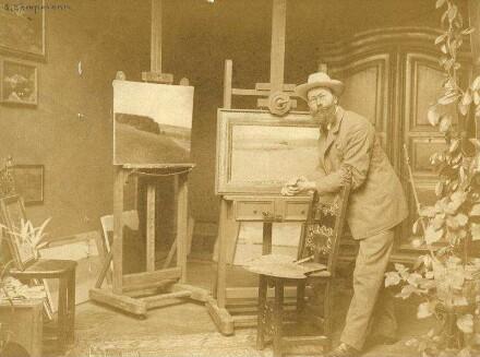 Kampmann, Gustav (geb. 30.9.1859 Boppard, gest. 12.8.1917 Godesberg) - Landschaftsmaler, Radierer und Lithograph, Mitglied des Karlsruher Künstlerbundes und der Grötzinger Malerkolonie
