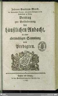 Johann Bartram Mielck Beitrag zur Beförderung der häußlichen Andacht, in einer abermahligen Sammlung von Predigten