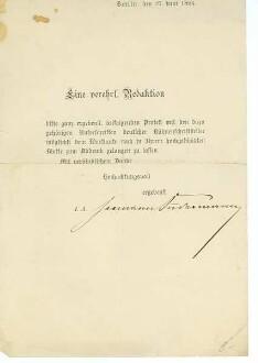 Schreiben von Hermann Sudermann