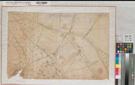 Schwelm (Schwelm) - Gesundbrunnen bei Haus Martfeld - Lageplan - Ende 17.Jh. - o.M. (1 : 1000) - 41 x 63 - kol. Zeichnung - mit beschädigter Ansicht des Hauses Martfeld - KSA Nr. 463a
