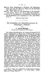 Zur Geschichte des Katechismuswesens im Würzburger Bisthume