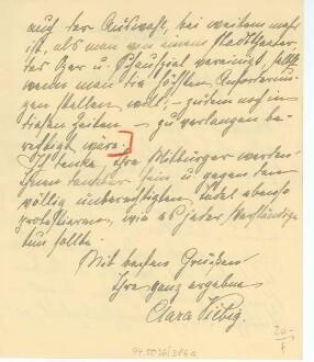 Brief von Clara Viebig