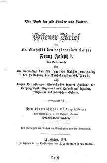 Offener Brief An Se Majestät Den Regierenden Kaiser Franz Joseph I