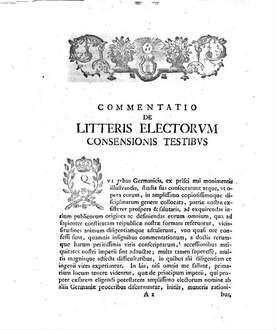 Commentatio de litteris electorvm consensionis testibvs