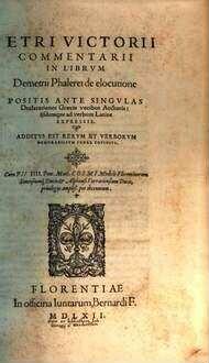 Commentarii in libr. Dem. Phalerei de elocutione